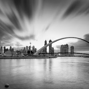 Dubai Canal  by Ricky Pagador - Black & White Buildings & Architecture ( clouds, park, street, long exposure, daylight, city )
