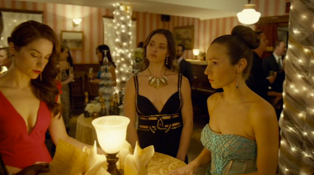 Wynonna, WIlla, and Waverly Earp in formal dresses