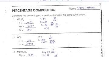 Chemistry  Percent Composition Worksheet