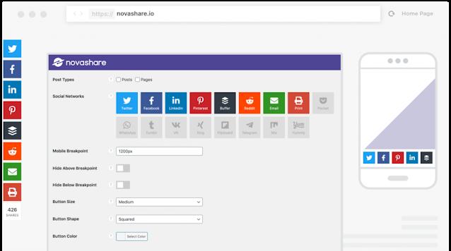 Novashare: best social sharing plugins for WP