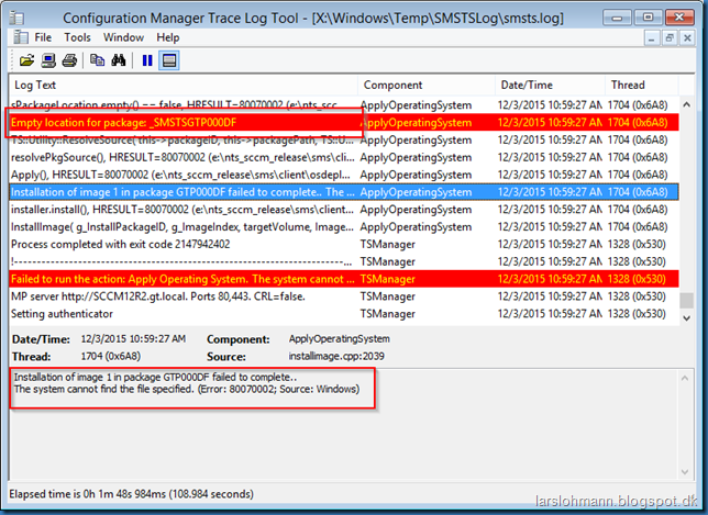 MINDCORE BLOG: Task Sequence error code (0x80070002)