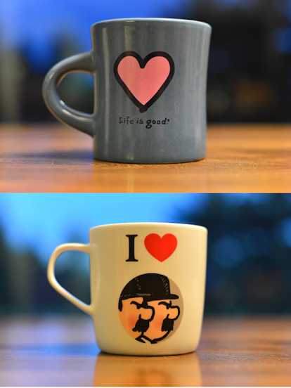 Heart-adorned coffee mugs (submitted by Ingrid L.)