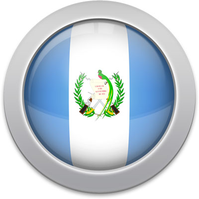 Guatemalan flag icon with a silver frame