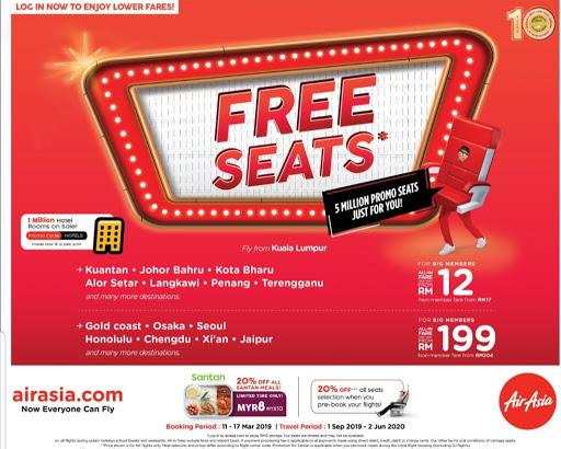 AIR ASIA FREE SEAT DARI 11 MARCH  HINGGA 17 MARCH 2019