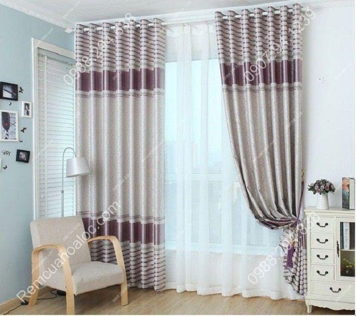 Rèm cửa đẹp cao cấp một màu tím nhạt  10