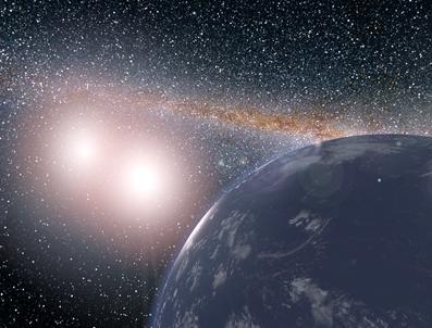 ilustração de planeta hipotético em torno do sistema binário Kepler-35
