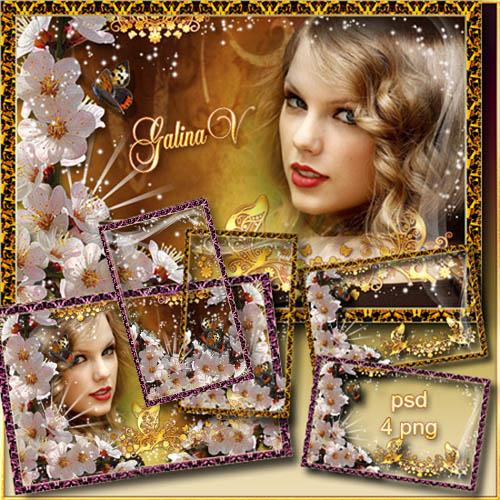 Цветочные рамки для фото - Цветение сакуры