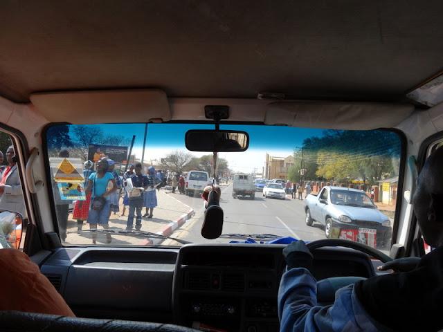 David and Maria experience public transportation in Mochudi