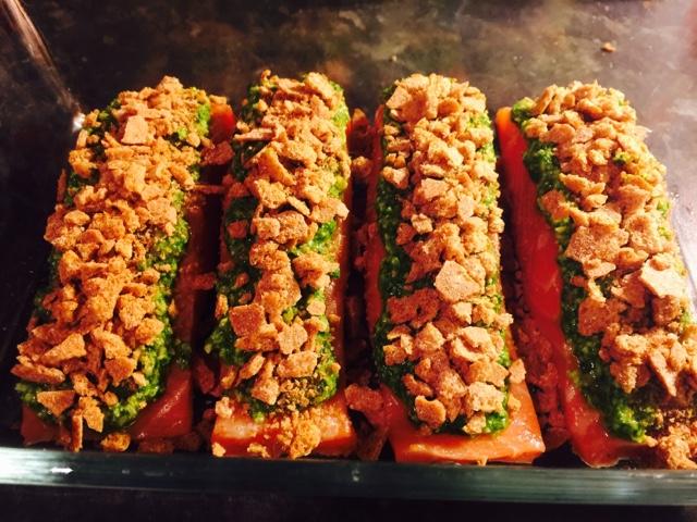 Acovado and spinach Fettucine Alfredo with Finn Crisp and pesto salmon