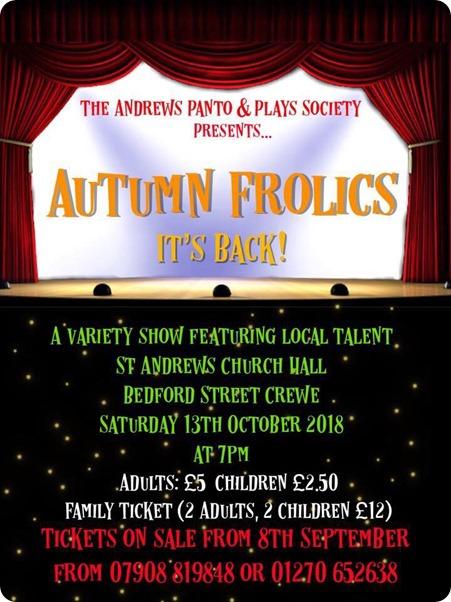 Autumn Frolics variety show - Crewe  - Sat 13-10-18