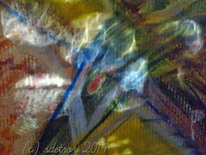 Photo: Very few times in the winter the sun light comes through the window on the east side of my house. This day it came in for a few moments. It is the reflective lights passing through glass jars onto the surface of my paining that hangs in my main room.