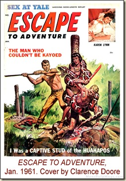 ESCAPE TO ADVENTURE, Jan 1961. Cover by Clarence Doore WM