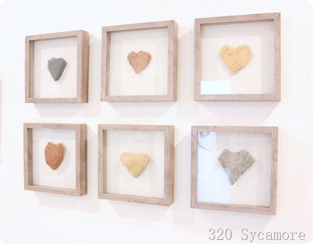 heart rock collection framed