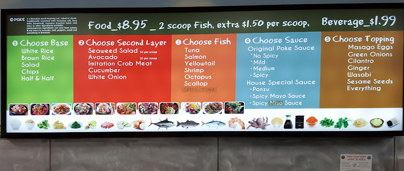 photo of the menu board at Poke UTC