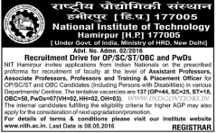 NIT Hamirpur Recruitment 2016 indgovtjobs