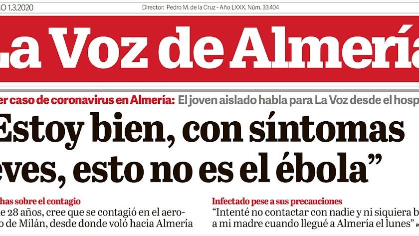 Declaraciones del primer positivo en Almería en La Voz.