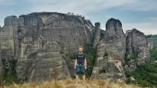 Meteora! View from the top of our first climbing multipitch there