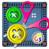 Buttons and Cutting Puzzle - Scissor Game