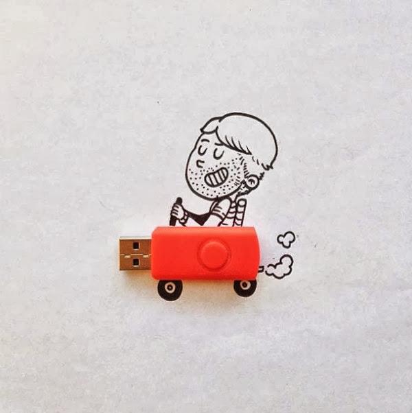 #Alex Solis善用實體與自己的平面插畫:手指忍者龜! 15
