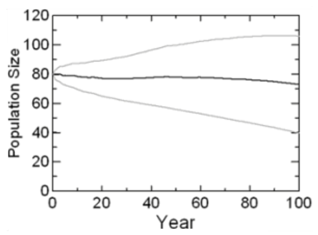 The distribution of 10,000 simulated trajectories with means and SD of the population size for northeastern Pacific Ocean Southern REsident Killer Whales (SRKWs) projected for 100 years, based on demographic rates observed from 1976 through 2014, applied to a starting population as it existed in 2015. Graphic: Lacy, et al., 2017 / Scientific Reports
