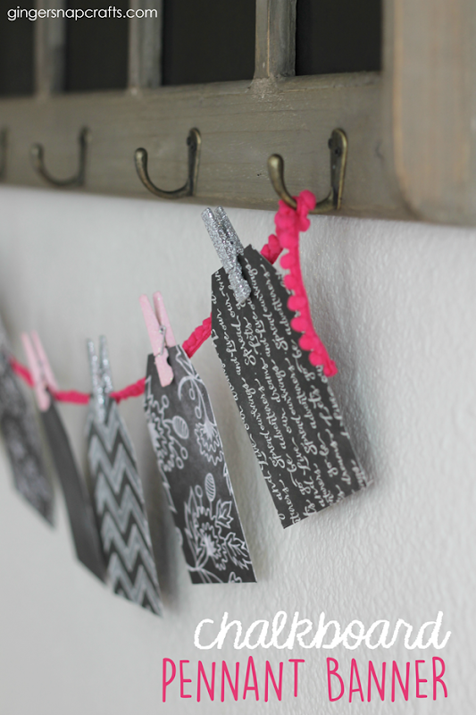 Chalkboard Pennant Banner at GingerSnapCrafts.com #pennant #papercrafts