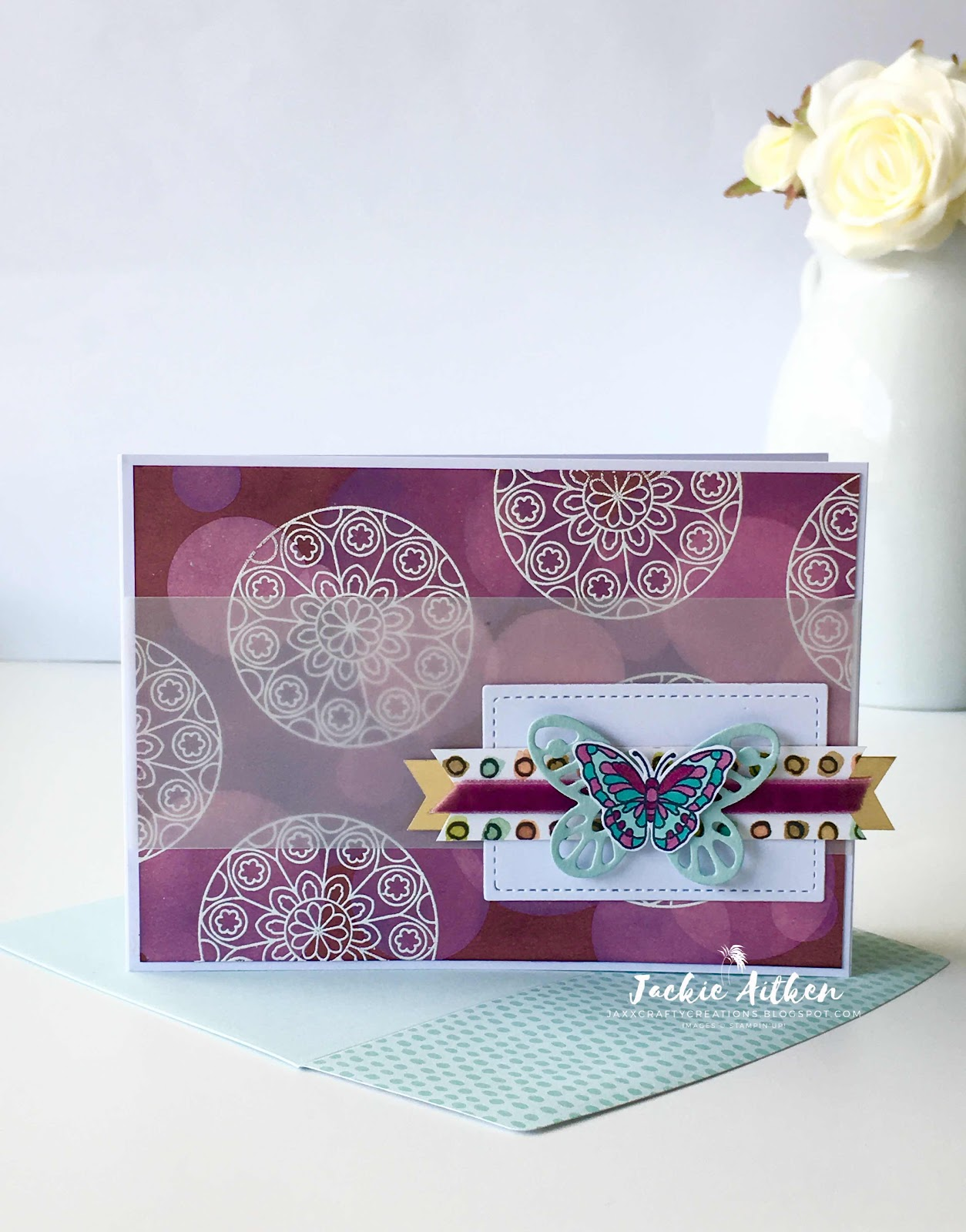 painted glass stamp set, bokeh technique, stampin up