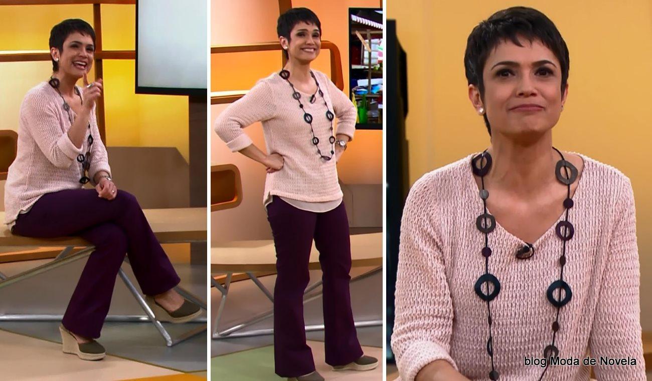 moda do programa Como Será? - look da Sandra Annenberg dia 9 de agosto