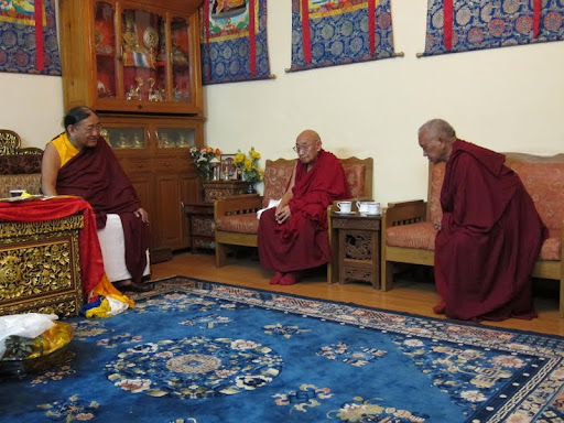 Lama Zopa Rinpoche meeting His Holiness the Sakya Trizen with Dhakpa Rinpoche, Dheradhun 2012