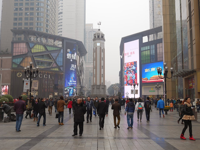 view of the Chongqing People's Liberation Monumentand the Jiefangbei Pedestrian Street's central square facing southeast