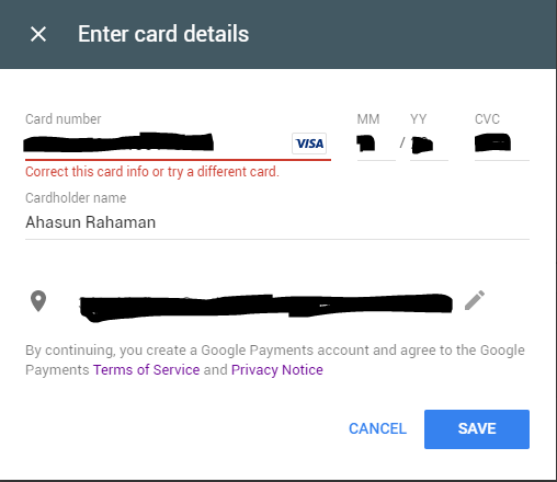 Cant able to add my visa card - Google Play Help