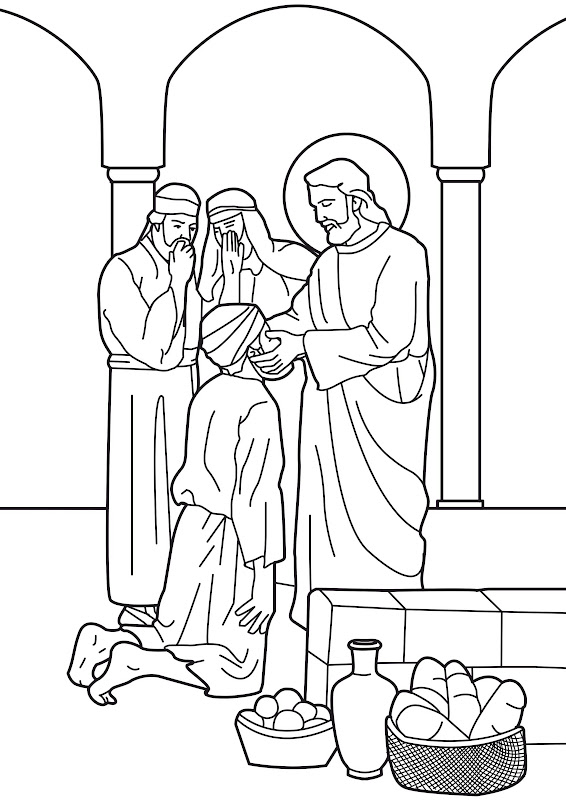 Jesus Heals The Man Born Blind Bible Coloring Page