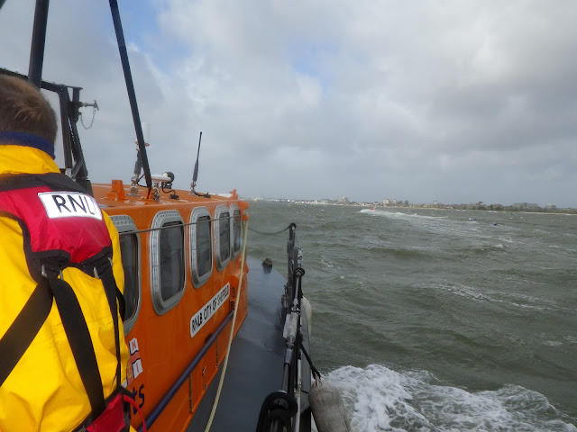 Looking ahead on the ALB towards Poole Quay - 27 October 2013. Photo credit: RNLI Poole