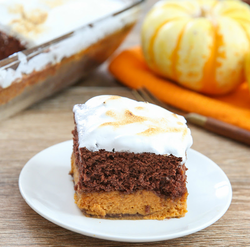photo of a slice of Pumpkin Magic Cake