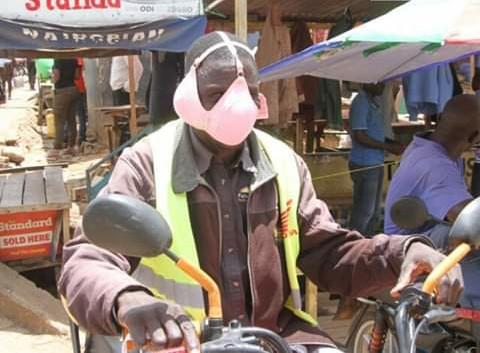 Bodaboda riders in Migori using a bra as face masks. PHOTO   BMS