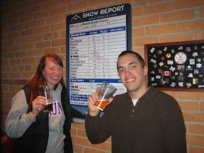 this bar, Red Rock, had a dry-erase snow report on the wall. This is really, really cool because most of the hardest skiiers around also double as the hardest drinkers around