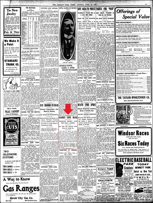 BEZNER_Anna M_killed by street car_Detroit_Free_Press_Mon__Jun_18__1906_pg 5_annotated