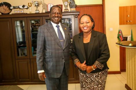 Governor Ann Waiguru and Raila Odinga at a past function.