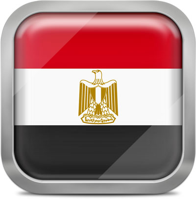 Egypt square flag with metallic frame