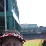 Wearing her MLB sun visor
