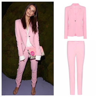 Emily Ratajkowski at the Altuzarra show during New York Fashion Week in Pink Suit