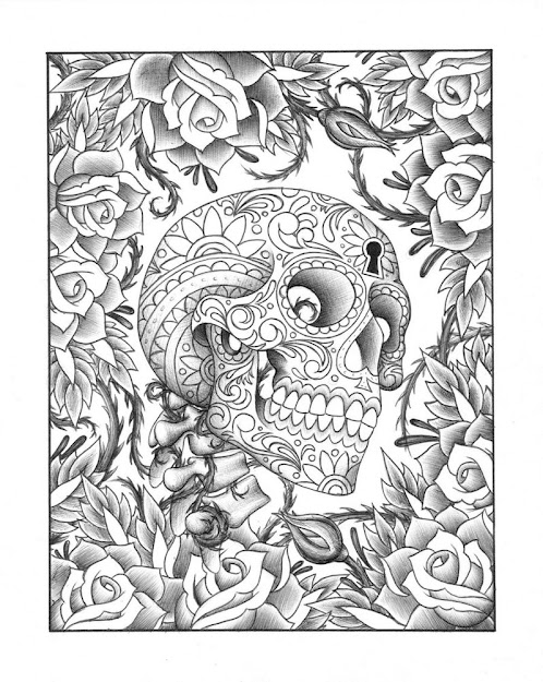 Dress  Images About Coloring Pages On Pinterest Coloring Within Skulls  And Roses Coloring Pages