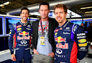 Daniel Ricciardo, actor Keanu Reeves and Sebastian Vettel