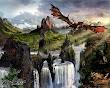Fantasy Dragon Behind Waterfalls