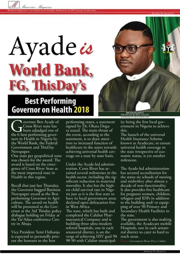 Ayade is best South South governor on health, says World Bank, FG