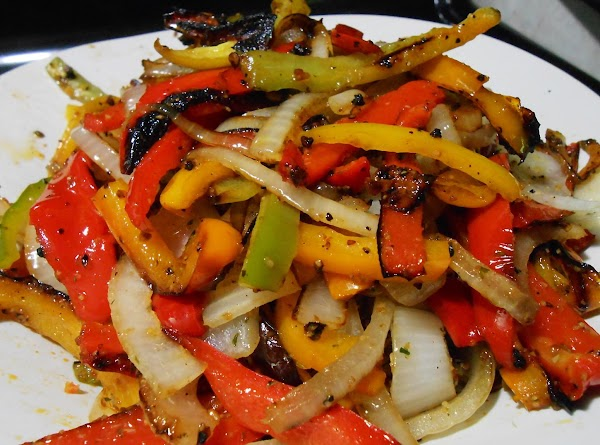 Pan roast or grill peppers and onion.
