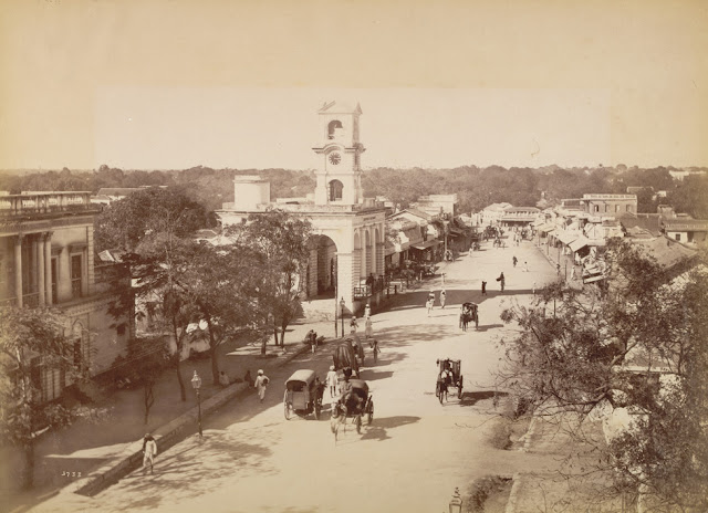 Photograph of a street in Secunderabad, Andrea Pradeah, taken by Deen Dayal in the 1880s, from the Curzon Collection: 'Views of HH the Nizam's Dominions, Hyderabad, Deccan, 1892'. Secunderabad, twin city of Hyderabad, was founded after an alliance between Hyderabad's Nizam Sikander Jah and the British East India Company in 1798. Following the treaty, secured by Major James Achilles Kirkpatrick, an area north of Hussain Sagar lake was made into a cantonment. Soon after the treaty was signed 5,000 British troops arrived and camped in the new cantonment of Secunderabad, which was laid out in 1806 and named after the Nizam. Initially it encompassed an area of four square miles and had a population of 5,000 troops plus several thousand civilians. However, 60 years later it had increased to 17 square miles and had a population, including the armed forces, of 50,000.