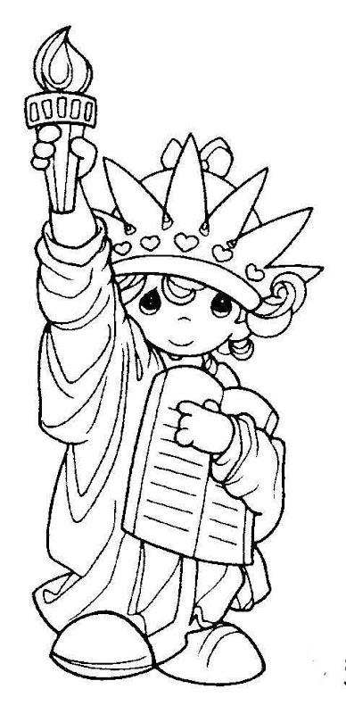 為孩子們的著色頁 Estatua De La Libertad De Los Precious