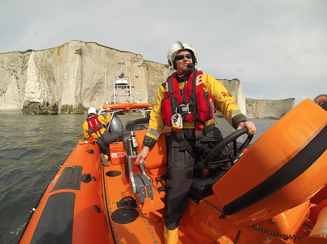 The ILB off Old Harry Rocks on a training exercise - Trainee Helmsman Neil Ceconi veering down onto the rocks Sunday 4 May 2014.   Photo: RNLI Poole/ Dave Riley
