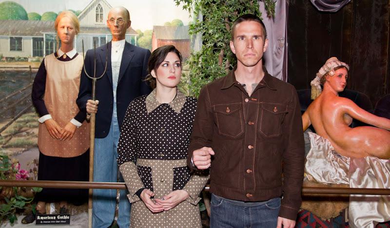 Polkaflage Jacket poses at the San Francisco Wax Museum